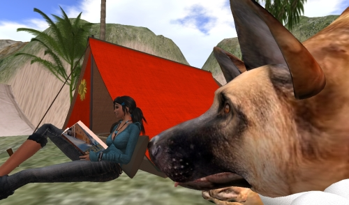 Silber reading in front of her tent at Martinique